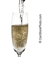 Bubbly champagne - Pouring champagne, many bubbles Isolated...