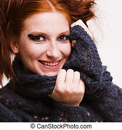 Laughing redhead - Studio portrait of a natural redhead...