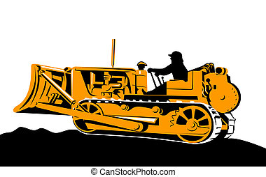 Bulldozer side view - Illustration on construction