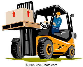 Forklift - Illustration on logistics