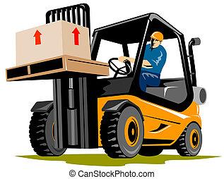 Forklift - Illustration on logistics