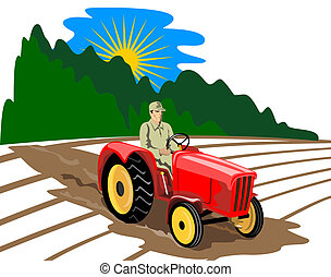 Farmer drving tractor - illustration on farming