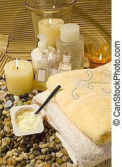 Healthy Lifestyle - Spa products and yoghurt, healthy...