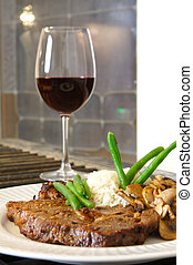 Steak meal ribeye - Cooked Ribeye meal rice green beans and...