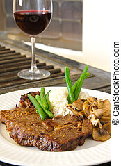 Ribeye and red wine - Cooked Ribeye meal rice green beans...