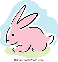 Pink rabbit - Cute retro cartoon illustration of a pink...