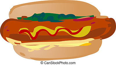 Hot dog illustration - Hot dog fast food, hand drawn look...
