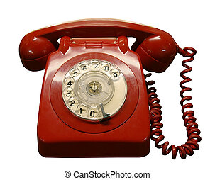 Vintage Phone - Vintage red phone isolated with clipping...