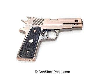 pistol lighter - object on white tool - pistol lighter
