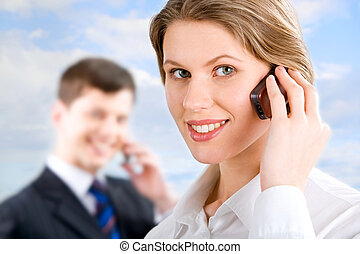 Telephone conversation - Image of telephone conversation of...