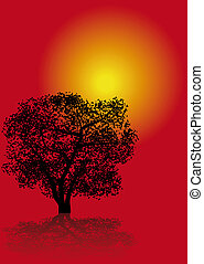 Tree at sundown - Abstract illustration of a tree silhouette...