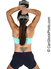 Tricep Dumbbell Extension - Woman lifiting free weights over...