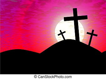 calvary - the cross of calvary against a pink sunset
