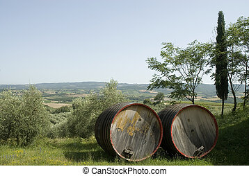Chianti-wine in Tuscany - Big barrels with Chianti-wine in...