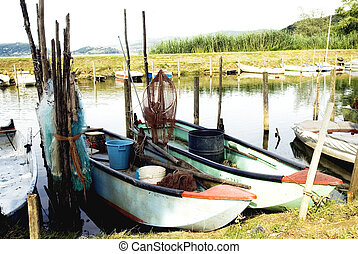 fishing-boats - motor-boats with full equipment for fishing