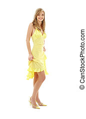 lovely girl in yellow dress - classical pin-up image of...