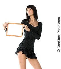 Girl with frame - Woman with empty wooden frame...