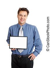 Businessman or salesman  holding sign