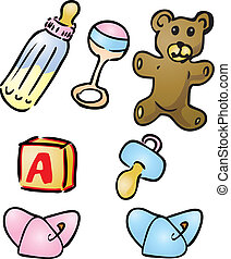 Baby items illustrations - Illustration set of baby items:...