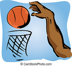 Slam dunk - Illustration of an arm dunking a basetball in a...