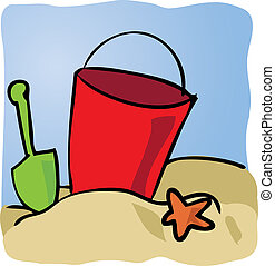 Seaside beachbucket - Beachbucket with sand and starfish...