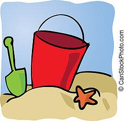 Seaside beachbucket - Beachbucket with sand and starfish...
