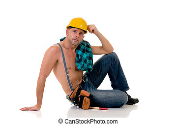 construction worker - Handsome pre middle aged construction...