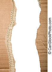 Ripped cardboard - Two separate strips of ripped brown...