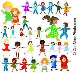 happy children; groups of kids in action