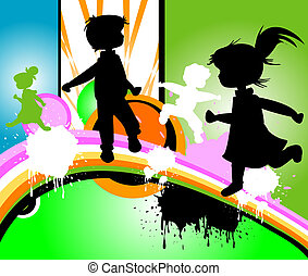 kids silhouettes running and jumping