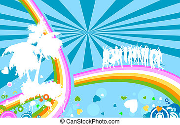 silhouettes and rainbow - silhouettes on abstract design...