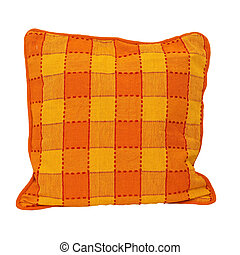 Pillow isolated 2 - Pillow red and yellow isolated on white...