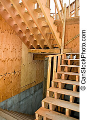 Framed Staircase - The frame of a two flight staircase