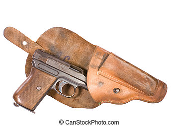 World War Two Pistol In Holster - Small automatic pistol...