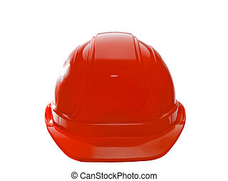 Red Hard Hat - A close up on a red hard hat isolated on a...