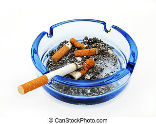 Cigarettes   - Blue glass ashtray with cigarette