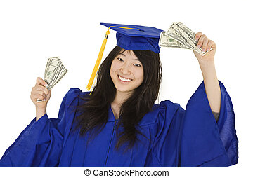 Garduation - An Asian teenage in blue graduation gown and...
