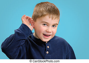 quot;What ya sayquot; - Young boy with his hand up to his...