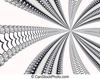 Perspective - A black,white and gray fractal with lines...