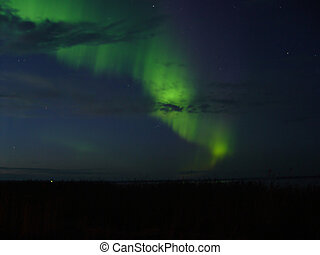 Northern-lights over lake, green mystic,