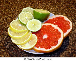 Still life of citrus - Still life-grapefruit, lime and...