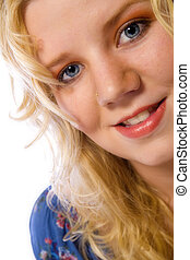 Average girl - Studio portrait of a blond young lady looking...