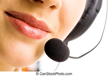 Close-up of lips - Close-up of business woman\\\'s lips with...