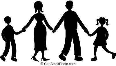 family - silhouette of family holding hands isolated on...