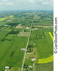 Aerial - Ontario - Typical aerial view of green fields and...
