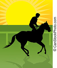 Jockey Morning Ride - Silhouette of a jockey exercising his...