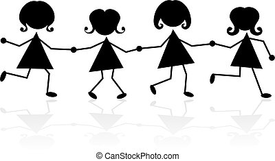 holding hands - group of little girls in silhouette holding...