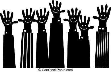 handy team - silhouette of a group of business hands with...