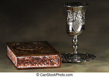 Sabbath - Jewish Bible and Silver WIne Cup - Sabbath Related