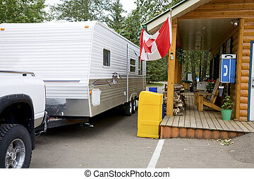 Campground Check In - Truck & RV checking into a Canadian...